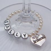 Bridesmaid Personalised Wine Glass Charm - Full Bead Style